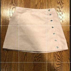 Pink faux suede button up skirt